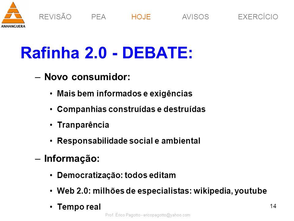 REVISÃOPEAHOJEEXERCÍCIOAVISOS Prof. Érico Pagotto - ericopagotto@yahoo.com 14 Rafinha 2.0 - DEBATE: –Novo consumidor: Mais bem informados e exigências