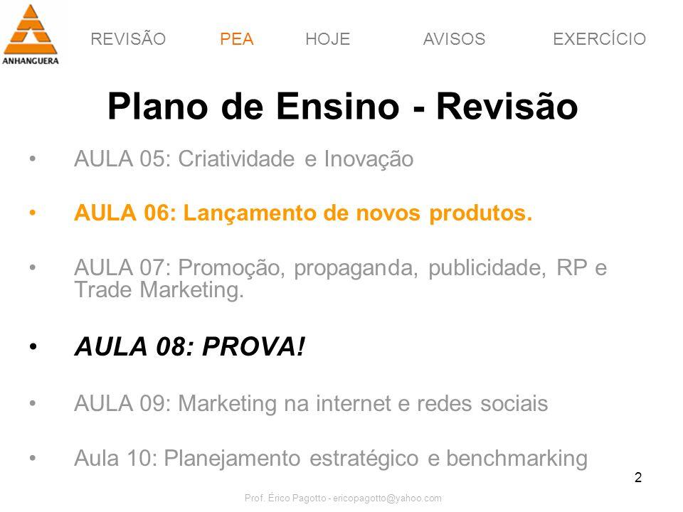 REVISÃOPEAHOJEEXERCÍCIOAVISOS Prof. Érico Pagotto - ericopagotto@yahoo.com 2 Plano de Ensino - Revisão AULA 05: Criatividade e Inovação AULA 06: Lança