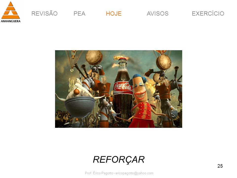 REVISÃOPEAHOJEEXERCÍCIOAVISOS Prof. Érico Pagotto - ericopagotto@yahoo.com 25 REFORÇAR HOJE