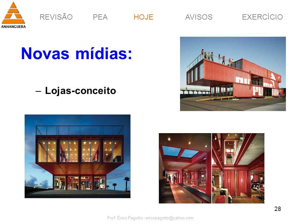 REVISÃOPEAHOJEEXERCÍCIOAVISOS Prof. Érico Pagotto - ericopagotto@yahoo.com 28 Novas mídias: –Lojas-conceito HOJE