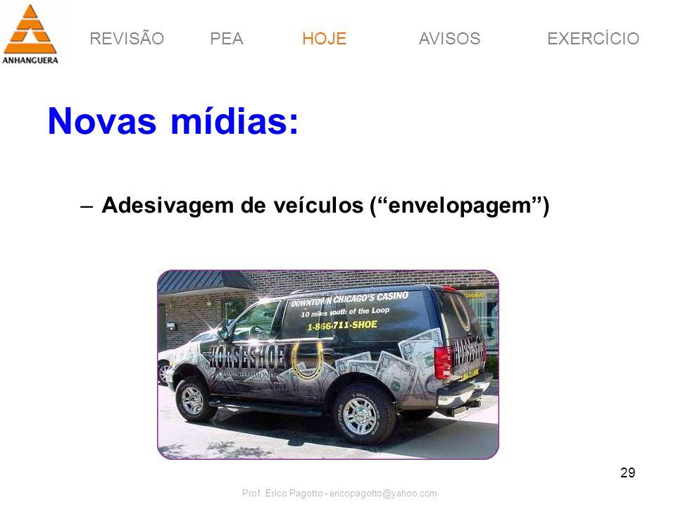 REVISÃOPEAHOJEEXERCÍCIOAVISOS Prof. Érico Pagotto - ericopagotto@yahoo.com 29 Novas mídias: –Adesivagem de veículos (envelopagem) HOJE