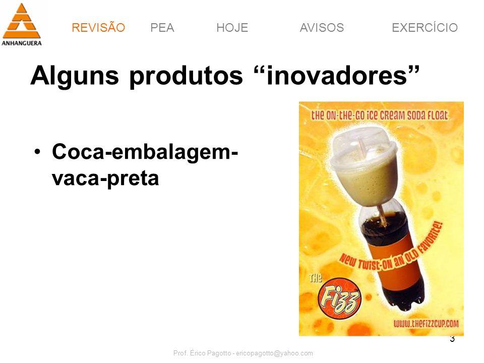 REVISÃOPEAHOJEEXERCÍCIOAVISOS Prof. Érico Pagotto - ericopagotto@yahoo.com 3 Alguns produtos inovadores Coca-embalagem- vaca-preta REVISÃO