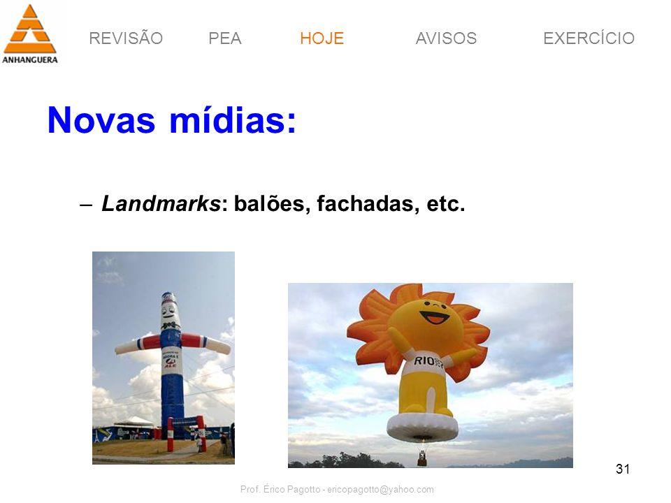 REVISÃOPEAHOJEEXERCÍCIOAVISOS Prof. Érico Pagotto - ericopagotto@yahoo.com 31 Novas mídias: –Landmarks: balões, fachadas, etc. HOJE