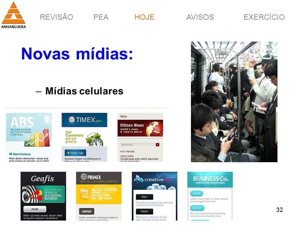 REVISÃOPEAHOJEEXERCÍCIOAVISOS Prof. Érico Pagotto - ericopagotto@yahoo.com 32 Novas mídias: –Mídias celulares HOJE