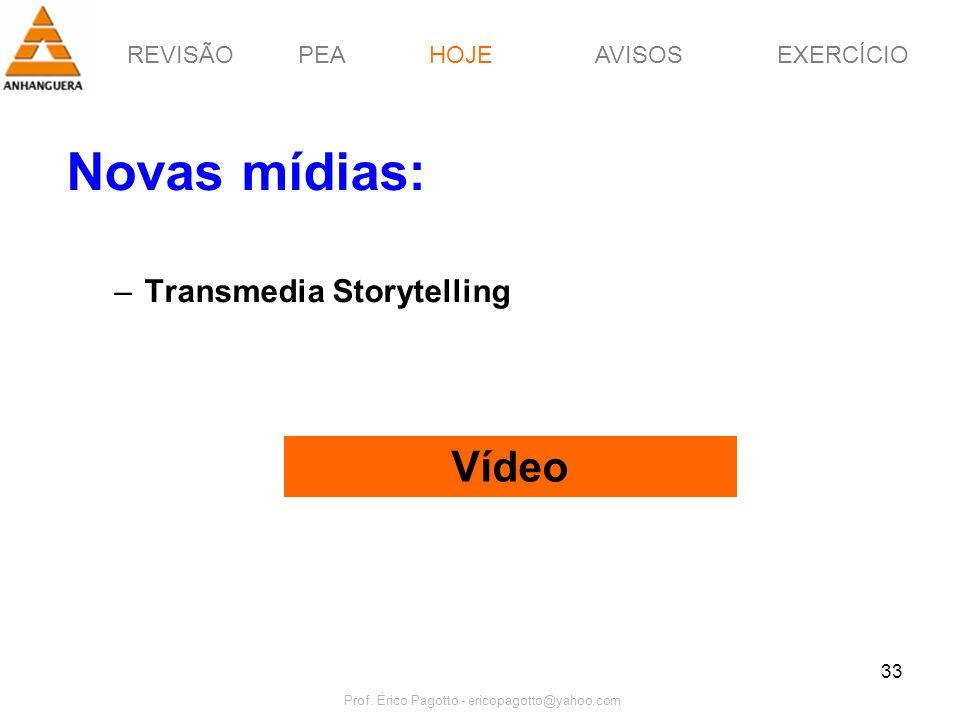 REVISÃOPEAHOJEEXERCÍCIOAVISOS Prof. Érico Pagotto - ericopagotto@yahoo.com 33 Novas mídias: –Transmedia Storytelling Vídeo HOJE