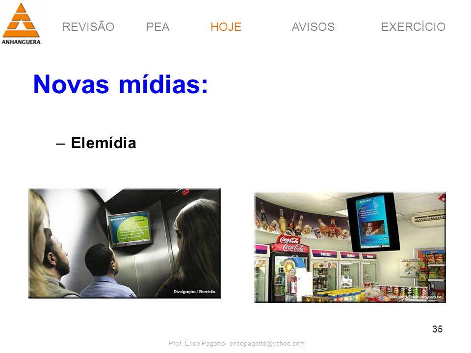 REVISÃOPEAHOJEEXERCÍCIOAVISOS Prof. Érico Pagotto - ericopagotto@yahoo.com 35 Novas mídias: –Elemídia HOJE