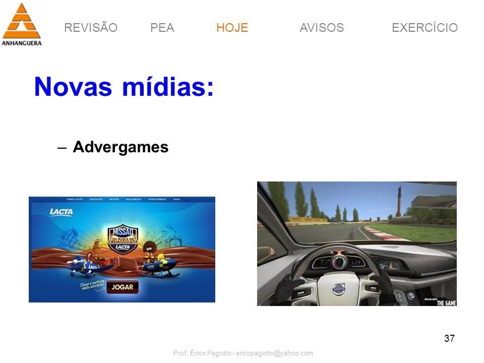 REVISÃOPEAHOJEEXERCÍCIOAVISOS Prof. Érico Pagotto - ericopagotto@yahoo.com 37 Novas mídias: –Advergames HOJE