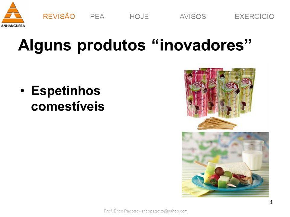 PEAHOJEEXERCÍCIOAVISOS Prof. Érico Pagotto - ericopagotto@yahoo.com 4 Alguns produtos inovadores Espetinhos comestíveis REVISÃO