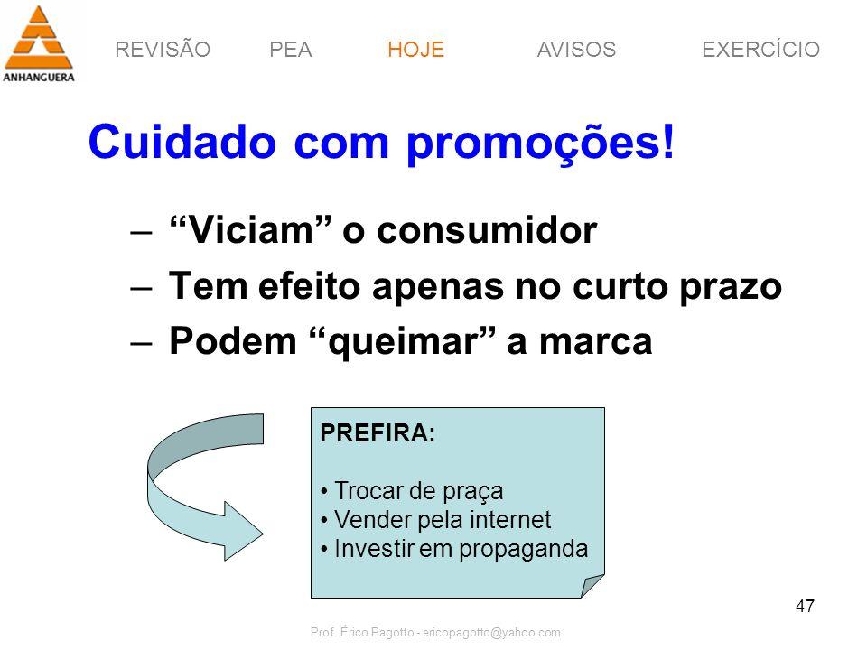 REVISÃOPEAHOJEEXERCÍCIOAVISOS Prof. Érico Pagotto - ericopagotto@yahoo.com 47 Cuidado com promoções! – Viciam o consumidor – Tem efeito apenas no curt