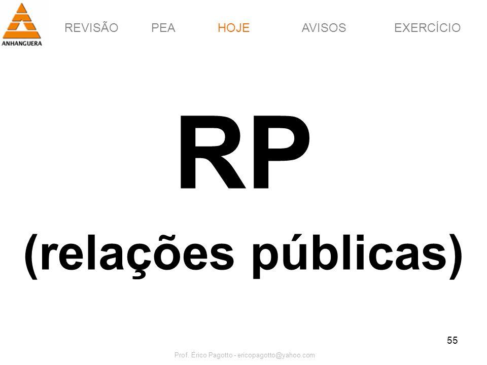 REVISÃOPEAHOJEEXERCÍCIOAVISOS Prof. Érico Pagotto - ericopagotto@yahoo.com 55 RP (relações públicas) HOJE