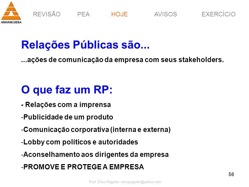 REVISÃOPEAHOJEEXERCÍCIOAVISOS Prof. Érico Pagotto - ericopagotto@yahoo.com 56 Relações Públicas são......ações de comunicação da empresa com seus stak