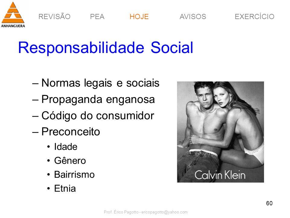 REVISÃOPEAHOJEEXERCÍCIOAVISOS Prof. Érico Pagotto - ericopagotto@yahoo.com 60 Responsabilidade Social –Normas legais e sociais –Propaganda enganosa –C
