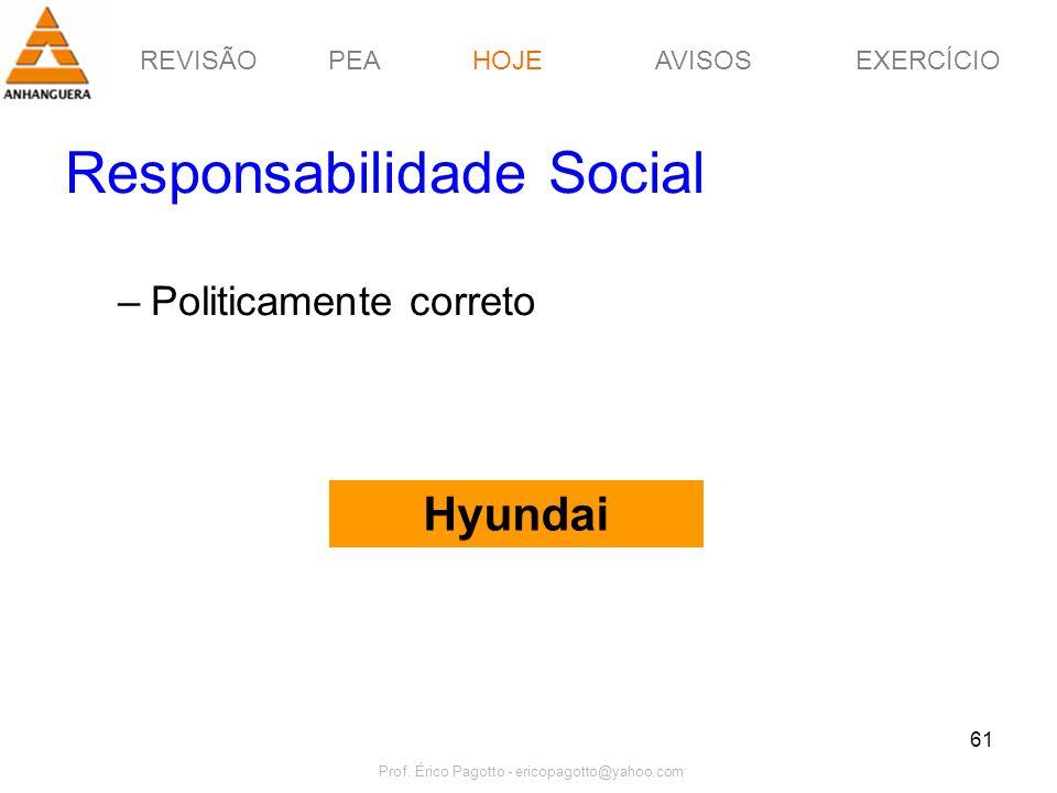 REVISÃOPEAHOJEEXERCÍCIOAVISOS Prof. Érico Pagotto - ericopagotto@yahoo.com 61 Responsabilidade Social –Politicamente correto Hyundai HOJE