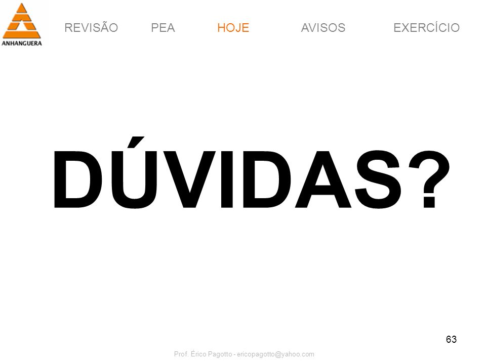 REVISÃOPEAHOJEEXERCÍCIOAVISOS Prof. Érico Pagotto - ericopagotto@yahoo.com 63 DÚVIDAS? HOJE