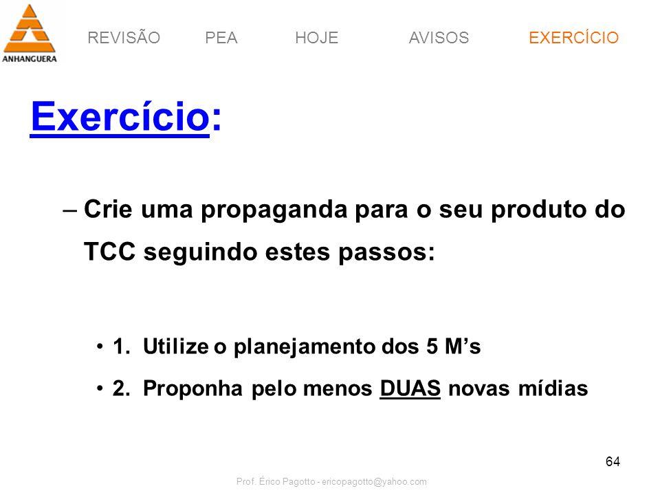 REVISÃOPEAHOJEEXERCÍCIOAVISOS Prof. Érico Pagotto - ericopagotto@yahoo.com 64 Exercício: –Crie uma propaganda para o seu produto do TCC seguindo estes