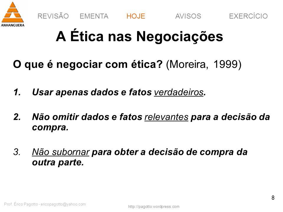 REVISÃOEMENTAHOJEEXERCÍCIOAVISOS http://pagotto.wordpress.com Prof. Érico Pagotto - ericopagotto@yahoo.com 8 A Ética nas Negociações O que é negociar