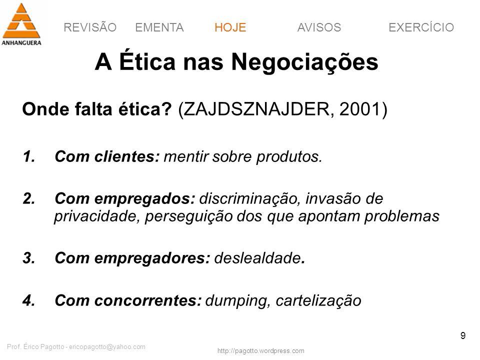 REVISÃOEMENTAHOJEEXERCÍCIOAVISOS http://pagotto.wordpress.com Prof. Érico Pagotto - ericopagotto@yahoo.com 9 A Ética nas Negociações Onde falta ética?