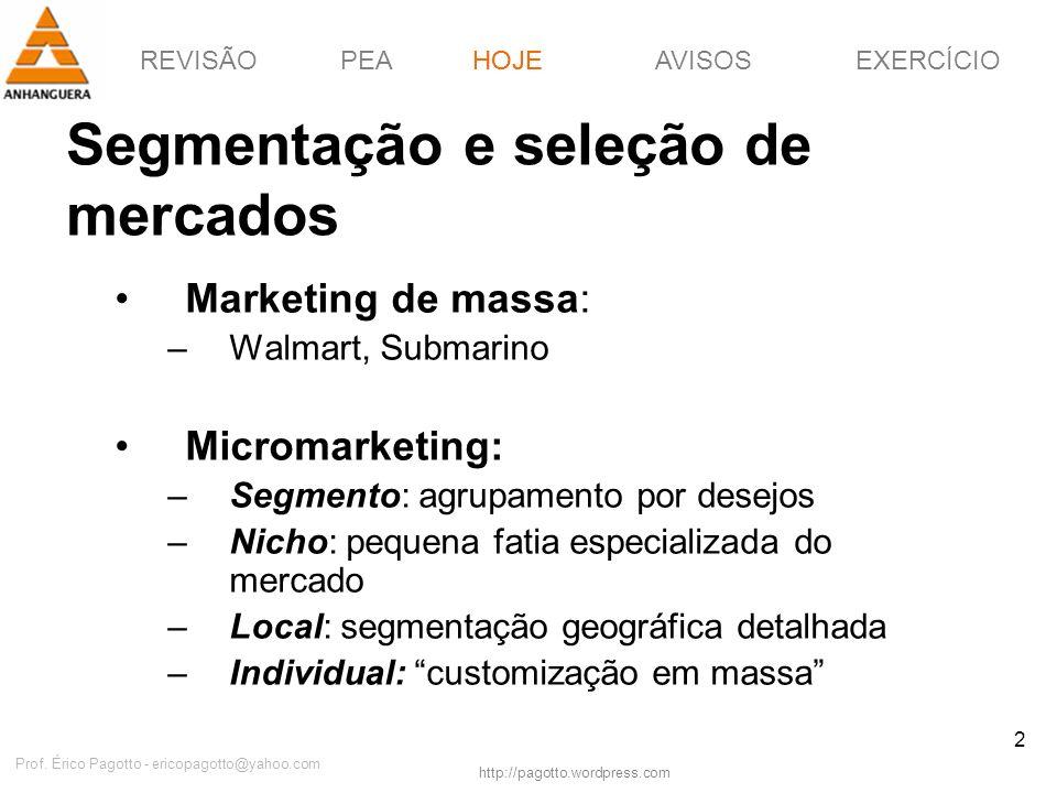 REVISÃOPEAHOJEEXERCÍCIOAVISOS http://pagotto.wordpress.com Prof. Érico Pagotto - ericopagotto@yahoo.com 2 Segmentação e seleção de mercados HOJE Marke