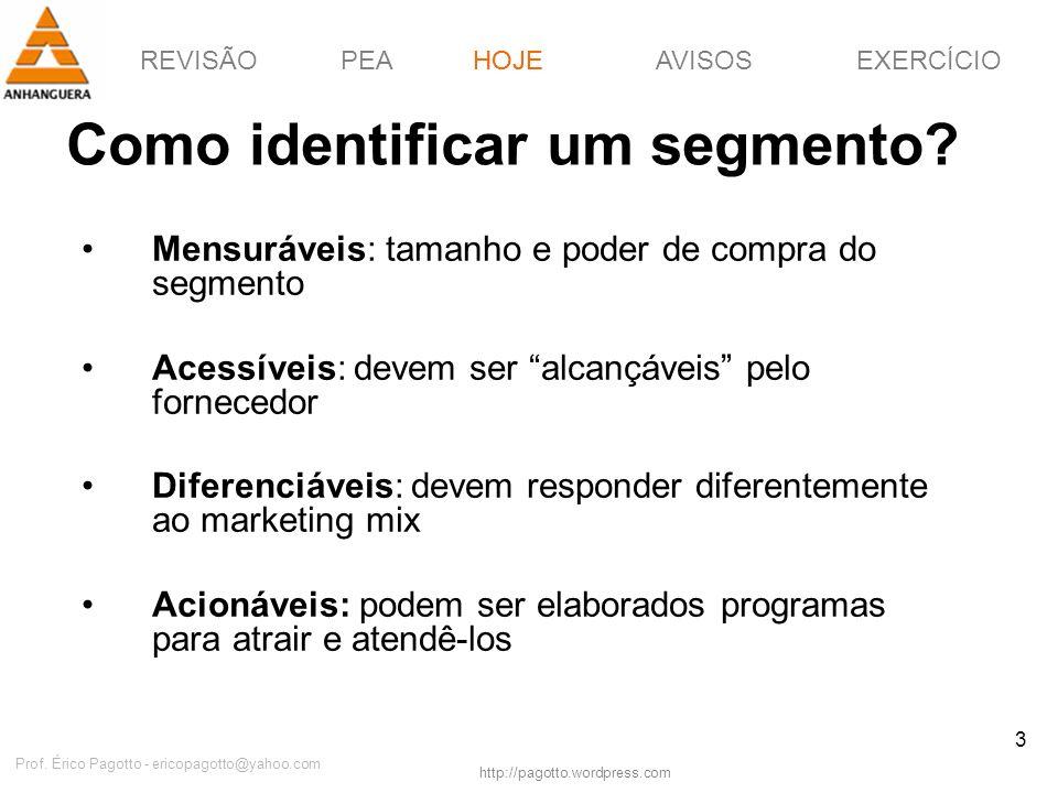 REVISÃOPEAHOJEEXERCÍCIOAVISOS http://pagotto.wordpress.com Prof. Érico Pagotto - ericopagotto@yahoo.com 3 Como identificar um segmento? HOJE Mensuráve
