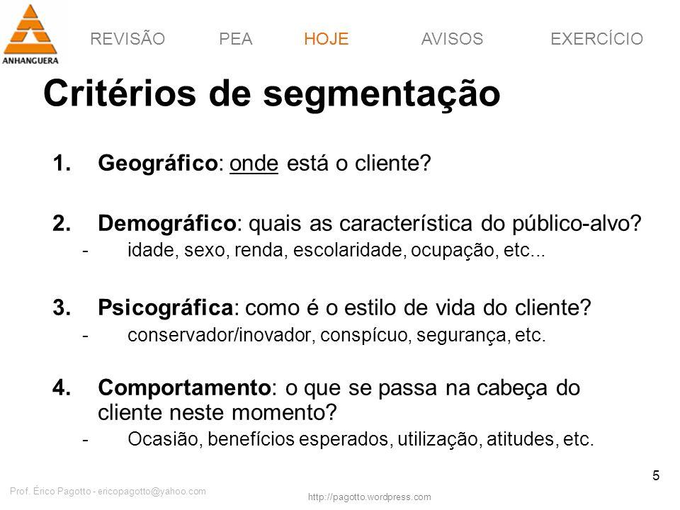 REVISÃOPEAHOJEEXERCÍCIOAVISOS http://pagotto.wordpress.com Prof. Érico Pagotto - ericopagotto@yahoo.com 5 Critérios de segmentação HOJE 1.Geográfico: