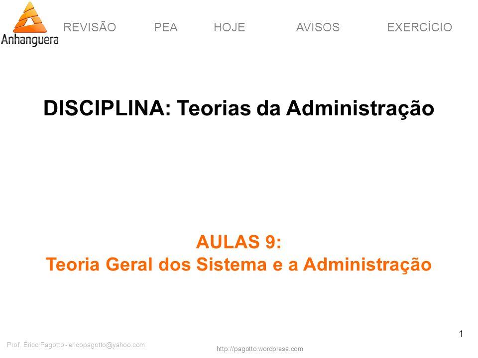 REVISÃOPEAHOJEEXERCÍCIOAVISOS http://pagotto.wordpress.com Prof. Érico Pagotto - ericopagotto@yahoo.com 1 DISCIPLINA: Teorias da Administração AULAS 9