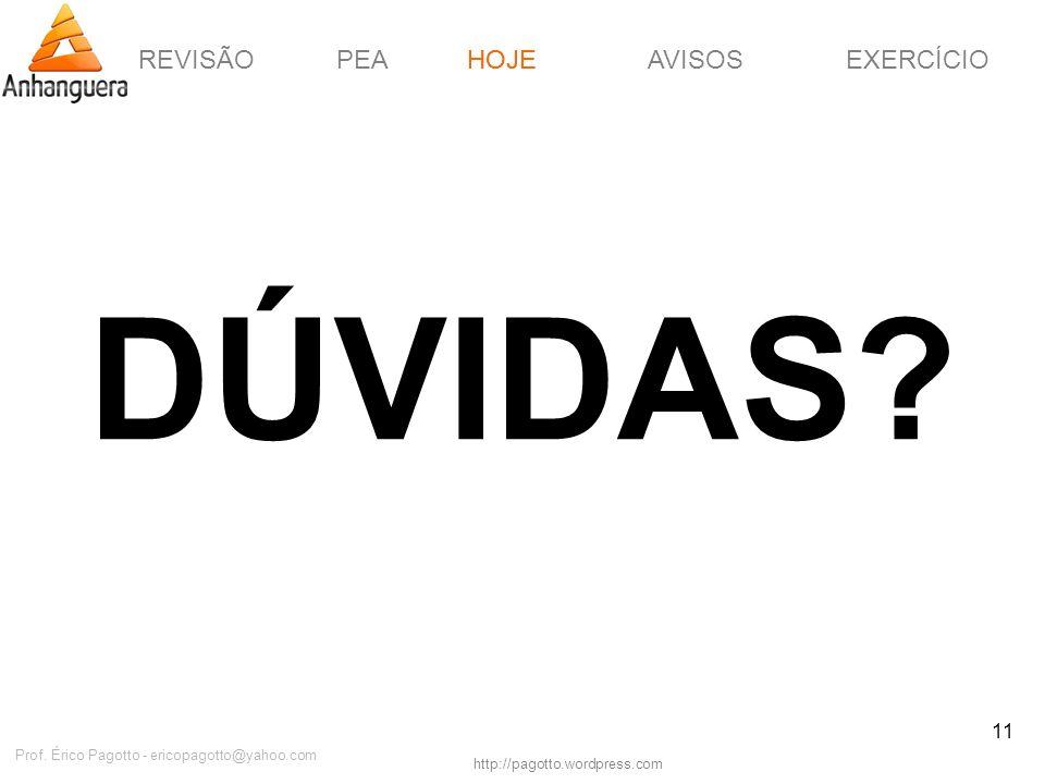 REVISÃOPEAHOJEEXERCÍCIOAVISOS http://pagotto.wordpress.com Prof. Érico Pagotto - ericopagotto@yahoo.com 11 DÚVIDAS? HOJE