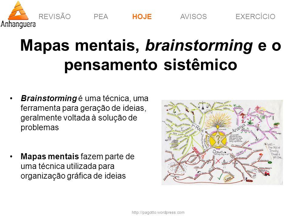 REVISÃOPEAHOJEEXERCÍCIOAVISOS http://pagotto.wordpress.com Mapas mentais, brainstorming e o pensamento sistêmico HOJE Brainstorming é uma técnica, uma