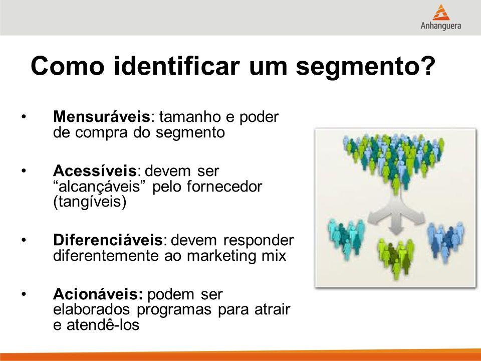 Como identificar um segmento? Mensuráveis: tamanho e poder de compra do segmento Acessíveis: devem ser alcançáveis pelo fornecedor (tangíveis) Diferen