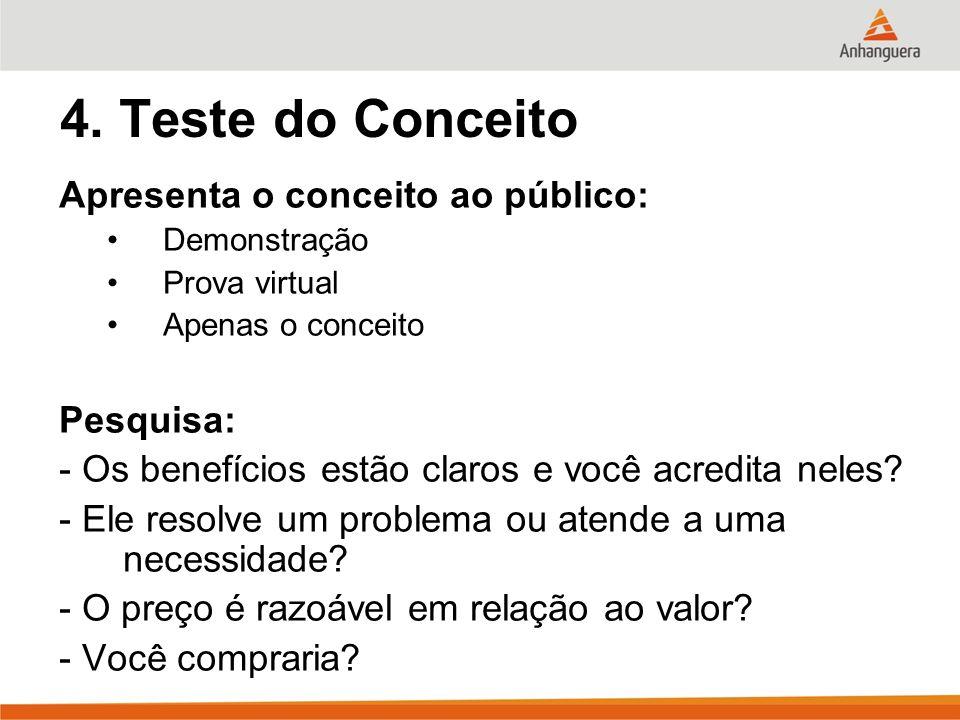 4. Teste do Conceito Apresenta o conceito ao público: Demonstração Prova virtual Apenas o conceito Pesquisa: - Os benefícios estão claros e você acred