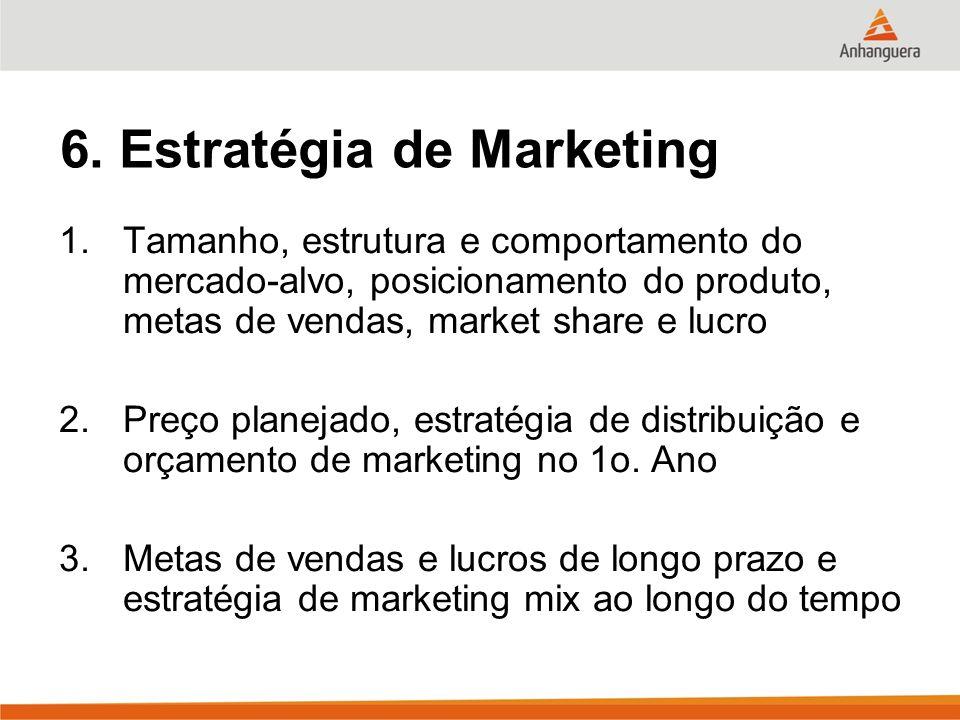 6. Estratégia de Marketing 1.Tamanho, estrutura e comportamento do mercado-alvo, posicionamento do produto, metas de vendas, market share e lucro 2.Pr
