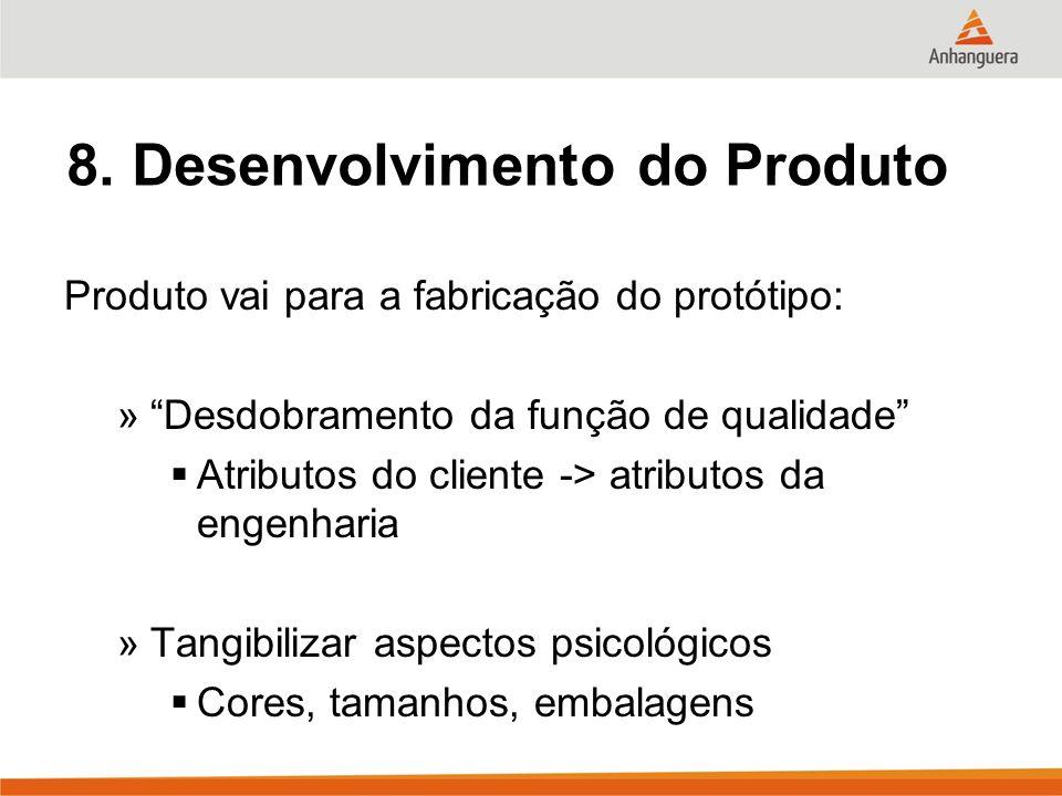 8. Desenvolvimento do Produto Produto vai para a fabricação do protótipo: »Desdobramento da função de qualidade Atributos do cliente -> atributos da e