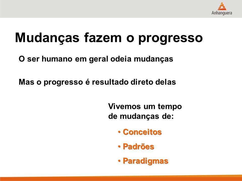 Mudanças fazem o progresso O ser humano em geral odeia mudanças Mas o progresso é resultado direto delas Vivemos um tempo de mudanças de: Conceitos Pa