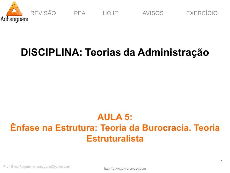 REVISÃOPEAHOJEEXERCÍCIOAVISOS http://pagotto.wordpress.com Prof. Érico Pagotto - ericopagotto@yahoo.com 1 DISCIPLINA: Teorias da Administração AULA 5: