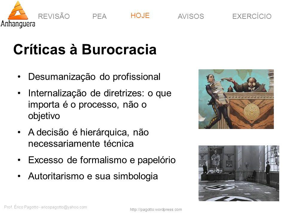 REVISÃOPEAHOJEEXERCÍCIOAVISOS http://pagotto.wordpress.com Prof. Érico Pagotto - ericopagotto@yahoo.com Críticas à Burocracia Desumanização do profiss