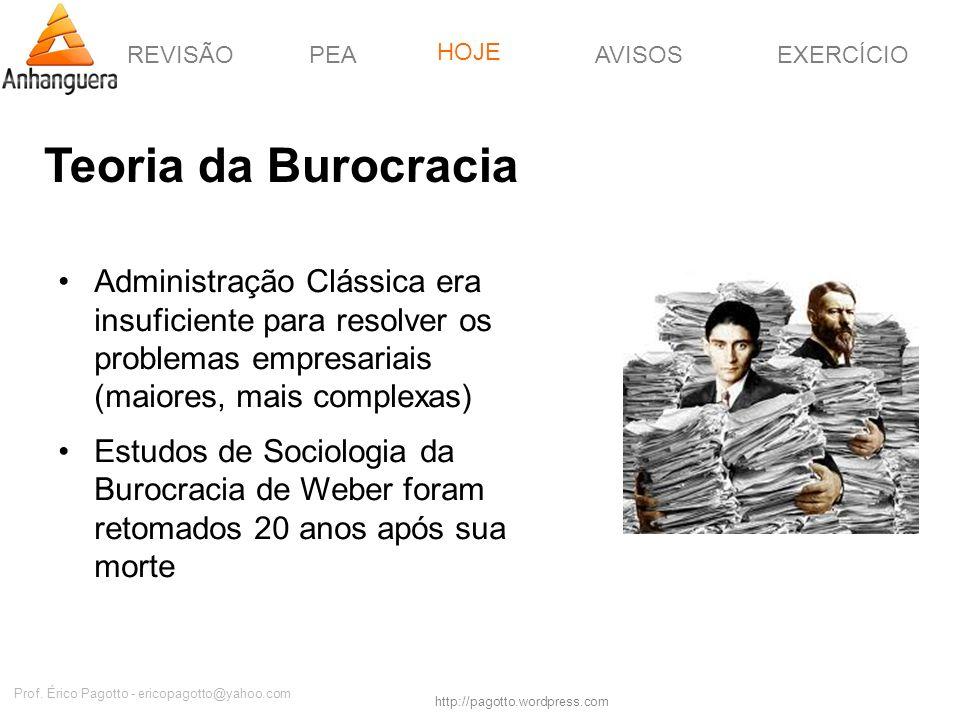 REVISÃOPEAHOJEEXERCÍCIOAVISOS http://pagotto.wordpress.com Prof. Érico Pagotto - ericopagotto@yahoo.com Teoria da Burocracia Administração Clássica er