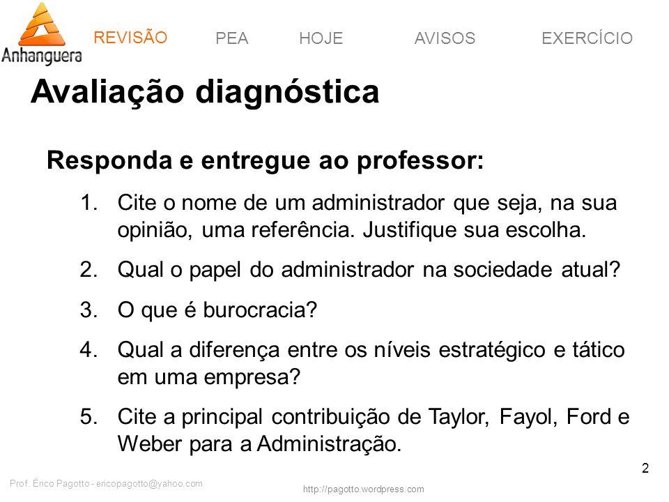 REVISÃOPEAHOJEEXERCÍCIOAVISOS http://pagotto.wordpress.com Prof. Érico Pagotto - ericopagotto@yahoo.com 2 Avaliação diagnóstica REVISÃO Responda e ent
