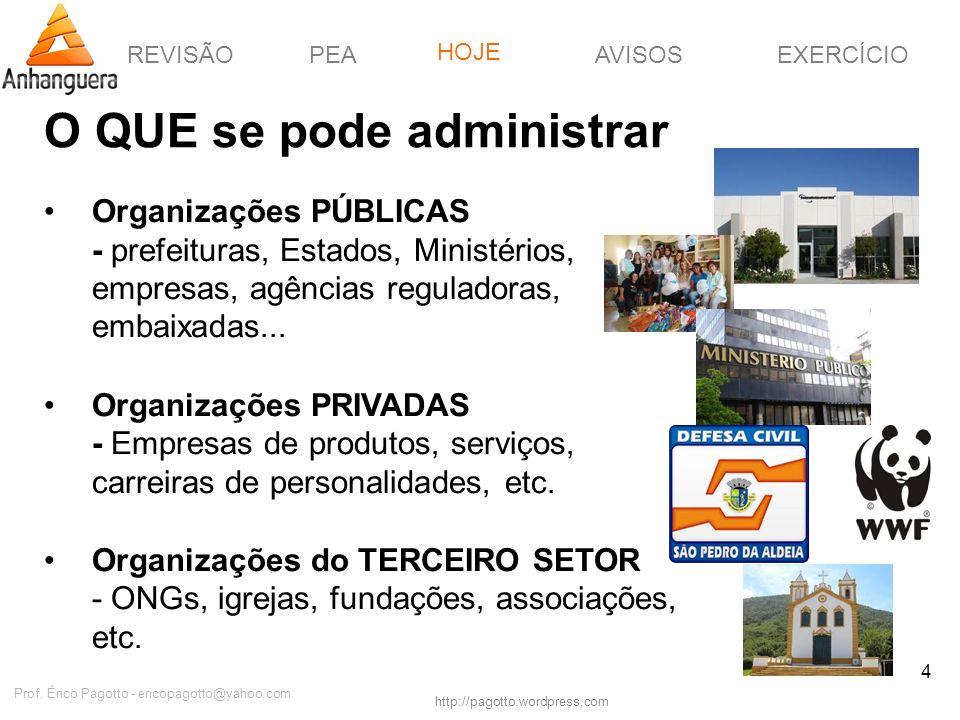 REVISÃOPEAHOJEEXERCÍCIOAVISOS http://pagotto.wordpress.com Prof. Érico Pagotto - ericopagotto@yahoo.com 4 O QUE se pode administrar Organizações PÚBLI