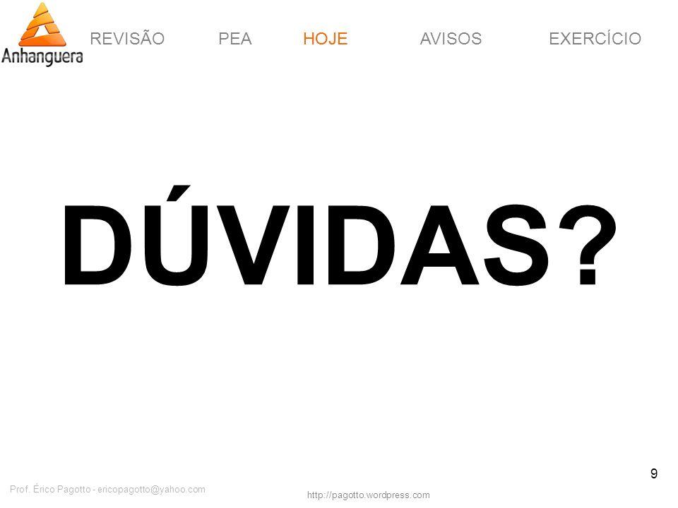 REVISÃOPEAHOJEEXERCÍCIOAVISOS http://pagotto.wordpress.com Prof. Érico Pagotto - ericopagotto@yahoo.com 9 DÚVIDAS? HOJE