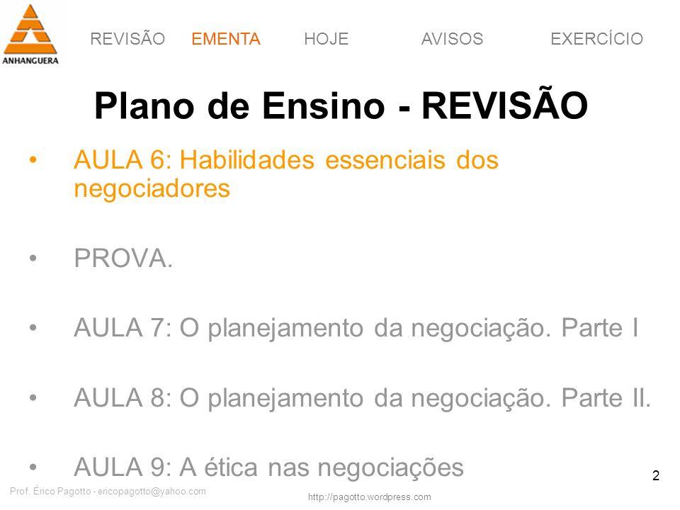 REVISÃOEMENTAHOJEEXERCÍCIOAVISOS http://pagotto.wordpress.com Prof. Érico Pagotto - ericopagotto@yahoo.com 2 Plano de Ensino - REVISÃO AULA 6: Habilid