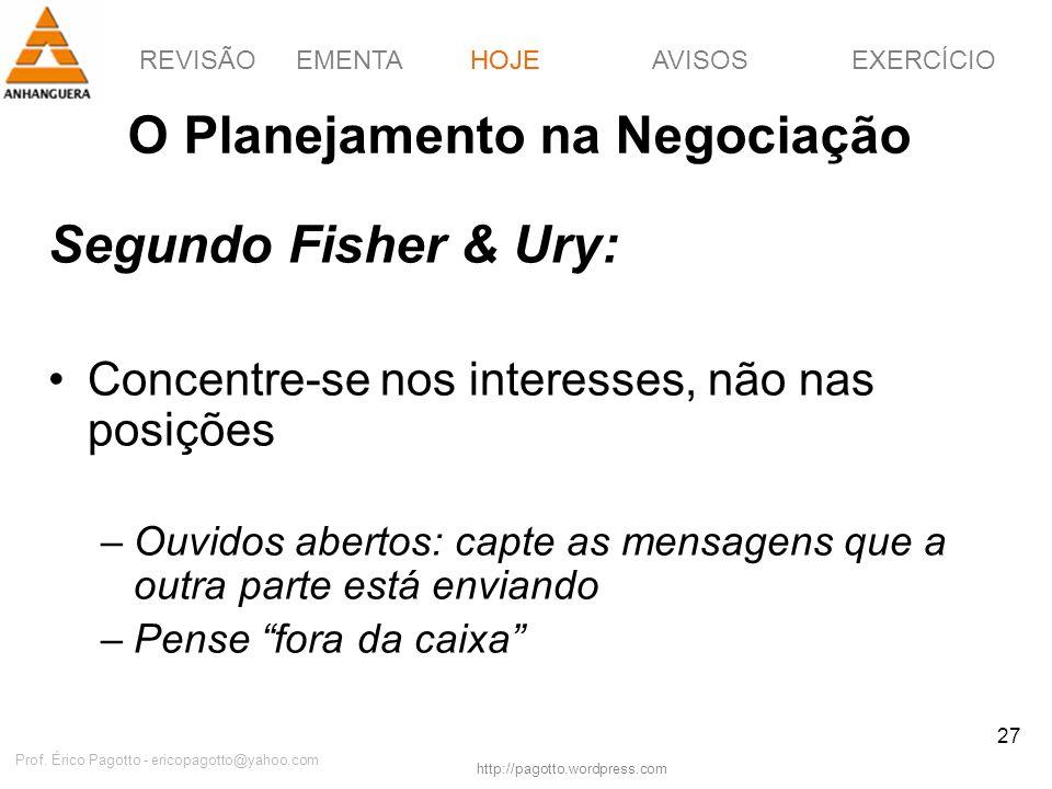 REVISÃOEMENTAHOJEEXERCÍCIOAVISOS http://pagotto.wordpress.com Prof. Érico Pagotto - ericopagotto@yahoo.com 27 O Planejamento na Negociação Segundo Fis