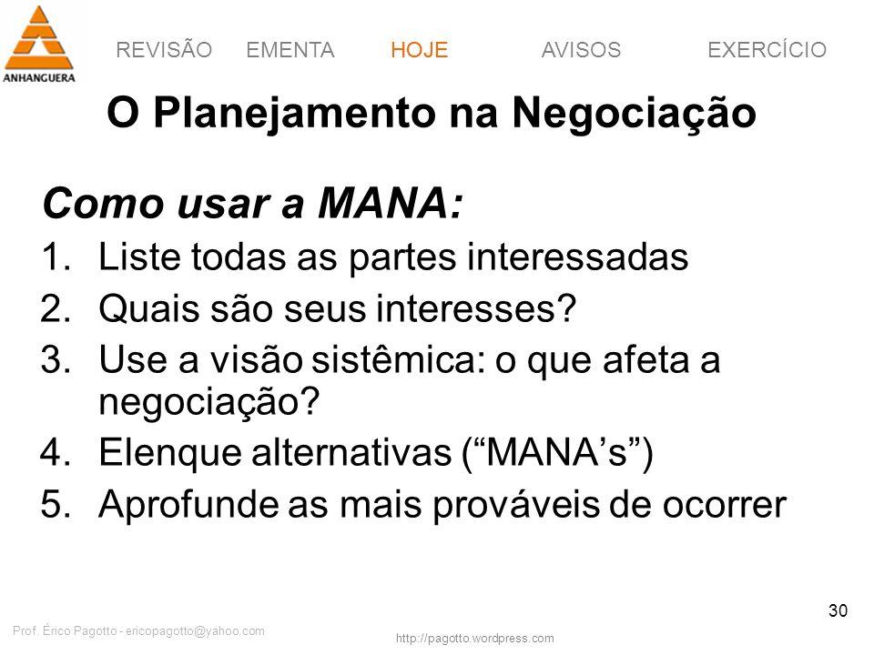 REVISÃOEMENTAHOJEEXERCÍCIOAVISOS http://pagotto.wordpress.com Prof. Érico Pagotto - ericopagotto@yahoo.com 30 O Planejamento na Negociação Como usar a