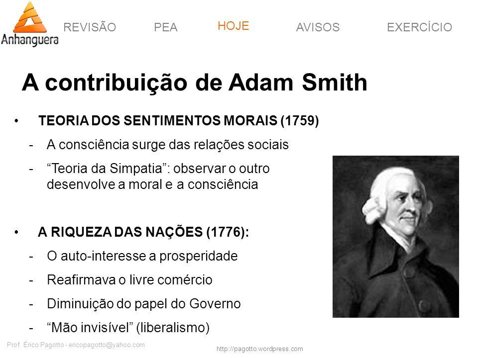 REVISÃOPEAHOJEEXERCÍCIOAVISOS http://pagotto.wordpress.com Prof. Érico Pagotto - ericopagotto@yahoo.com A contribuição de Adam Smith TEORIA DOS SENTIM
