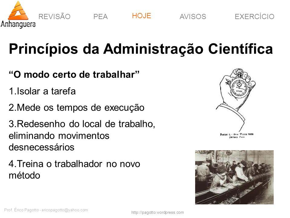 REVISÃOPEAHOJEEXERCÍCIOAVISOS http://pagotto.wordpress.com Prof. Érico Pagotto - ericopagotto@yahoo.com Princípios da Administração Científica O modo