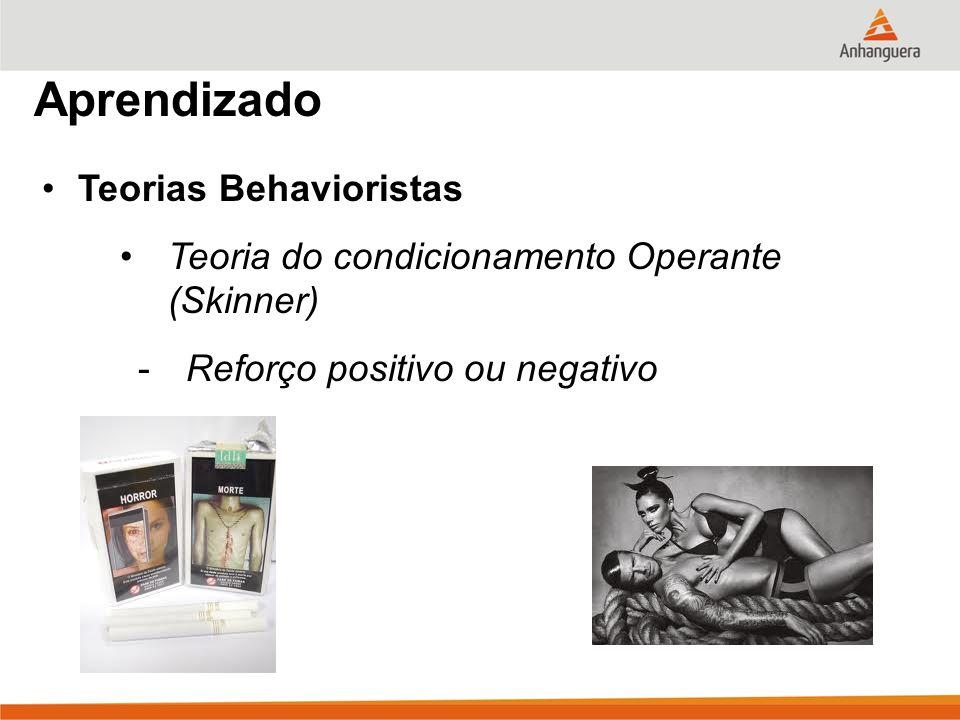 Aprendizado Teorias Behavioristas Teoria do condicionamento Operante (Skinner) -Reforço positivo ou negativo