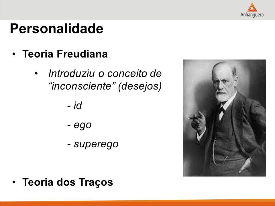 Personalidade Teoria Freudiana Introduziu o conceito de inconsciente (desejos) - id - ego - superego Teoria dos Traços