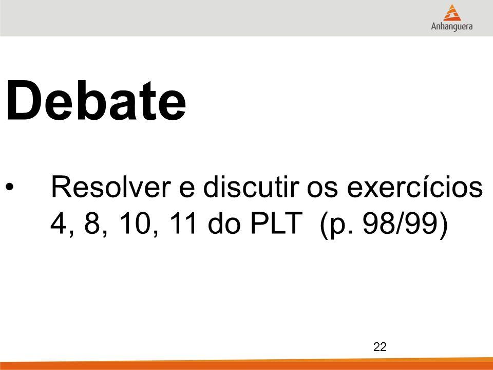 22 Debate Resolver e discutir os exercícios 4, 8, 10, 11 do PLT (p. 98/99)
