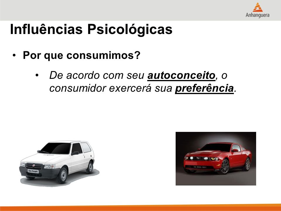 Influências Psicológicas Por que consumimos? De acordo com seu autoconceito, o consumidor exercerá sua preferência.