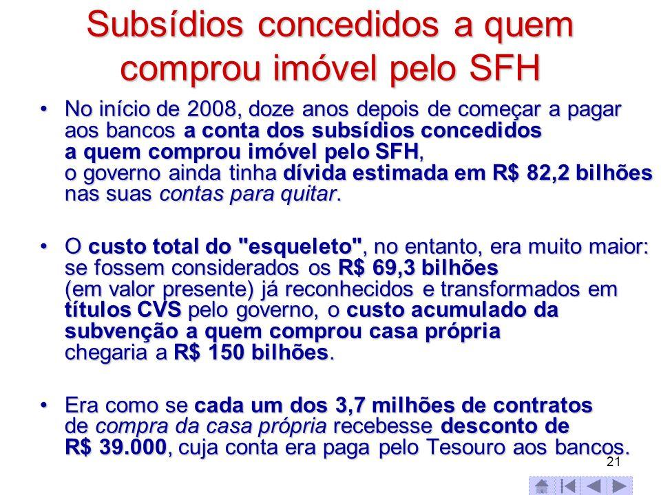 21 Subsídios concedidos a quem comprou imóvel pelo SFH No início de 2008, doze anos depois de começar a pagar aos bancos a conta dos subsídios concedi