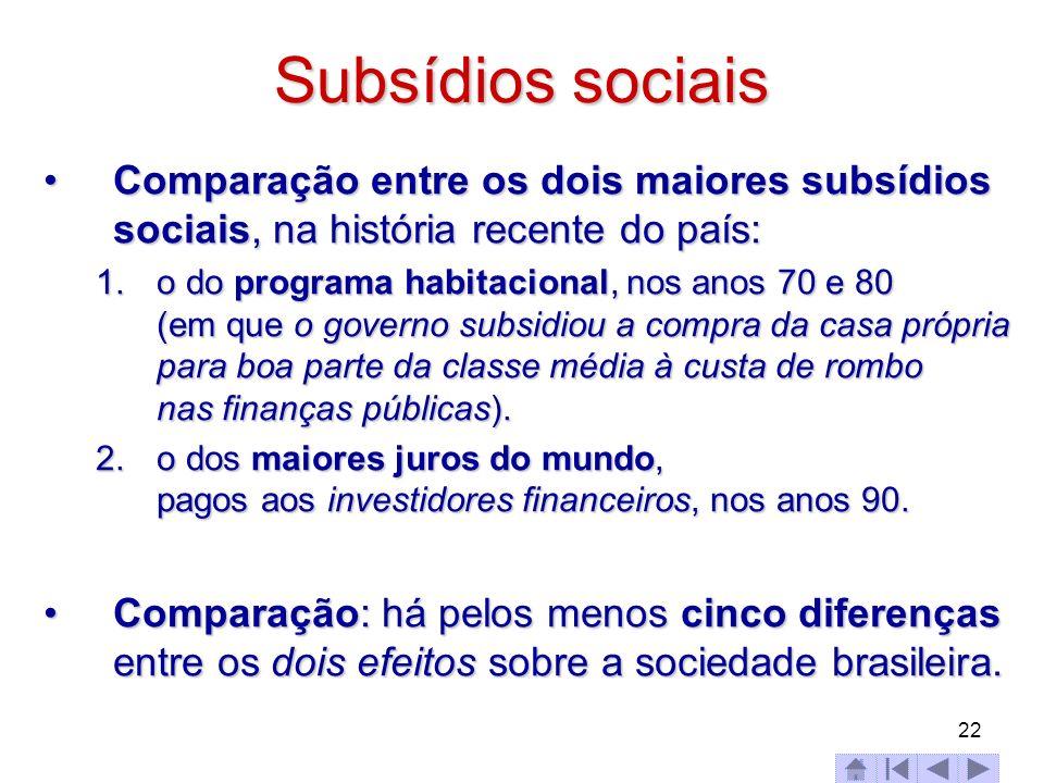 22 Subsídios sociais Comparação entre os dois maiores subsídios sociais, na história recente do país:Comparação entre os dois maiores subsídios sociai