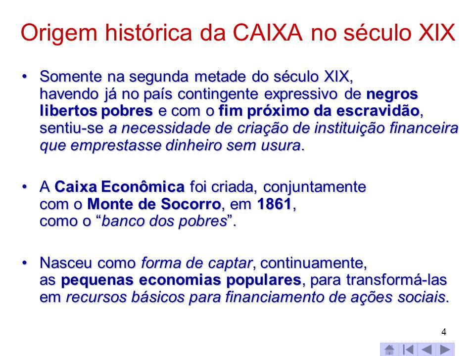 4 Origem histórica da CAIXA no século XIX Somente na segunda metade do século XIX, havendo já no país contingente expressivo de negros libertos pobres